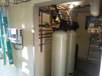 Installed boiler water treatment tanks